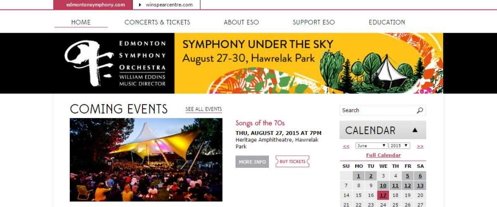 Image from Edmonton Symphony and Winspear Joomla! Websites by Edmonton web design company Chinook Multimedia