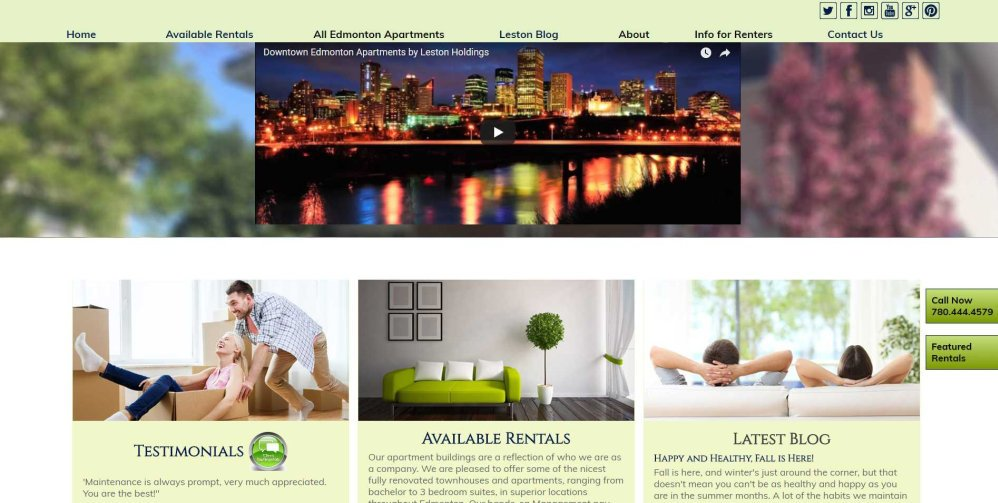Leston Holdings home ;page, Edmonton Joomla web design portfolio